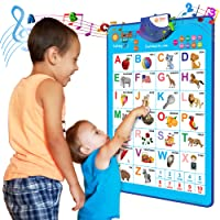 Just Smarty Electronic Interactive Alphabet Wall Chart, Talking ABC & 123s & Music Poster, Best Educational Toy for Toddler. Kids Fun Learning at Daycare, Preschool, Kindergarten for Boys & Girls