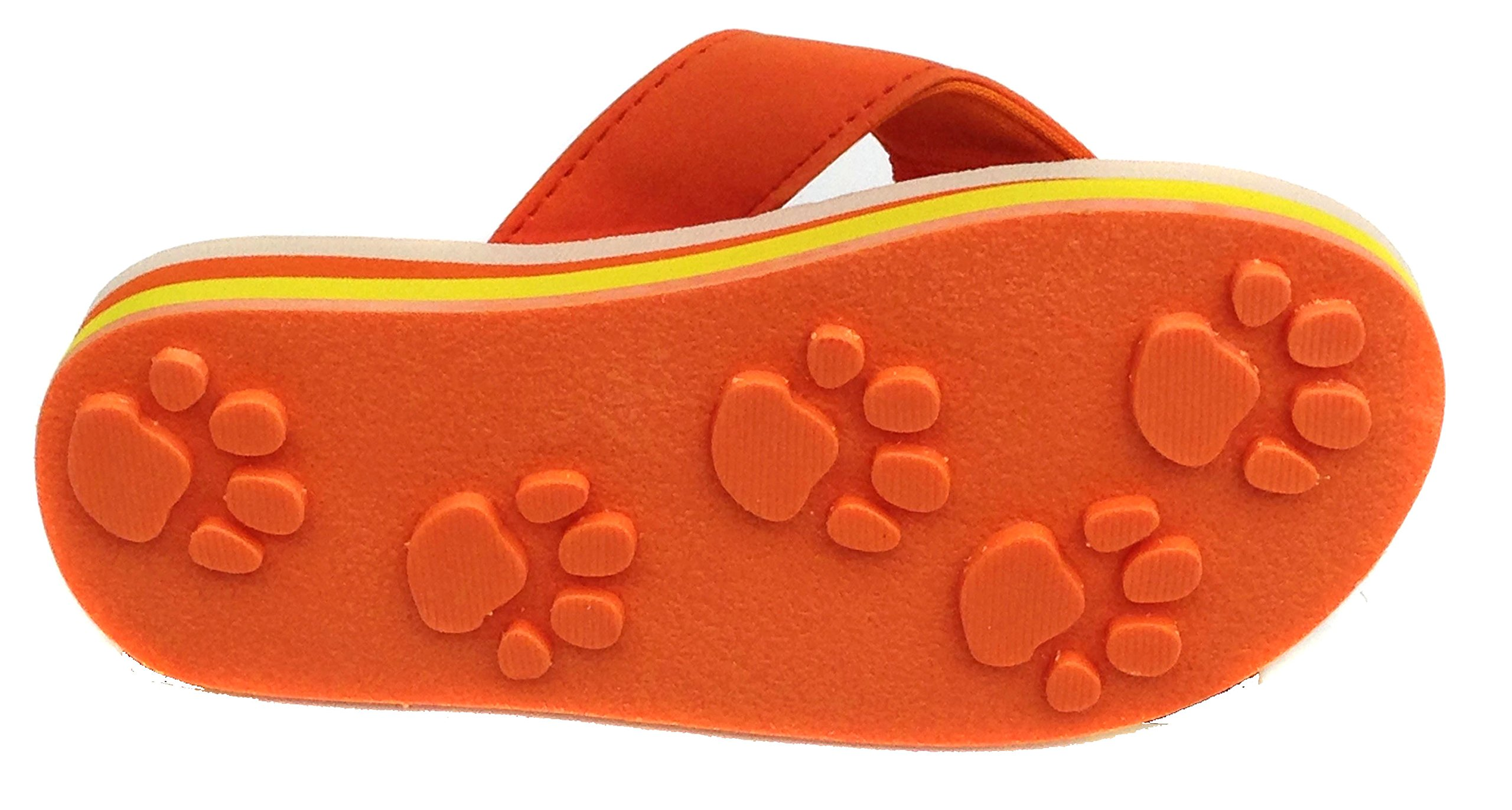 Tiger Orange Large Kids PAW Print Flip Flops Fun For Beach, Trail and Pool.