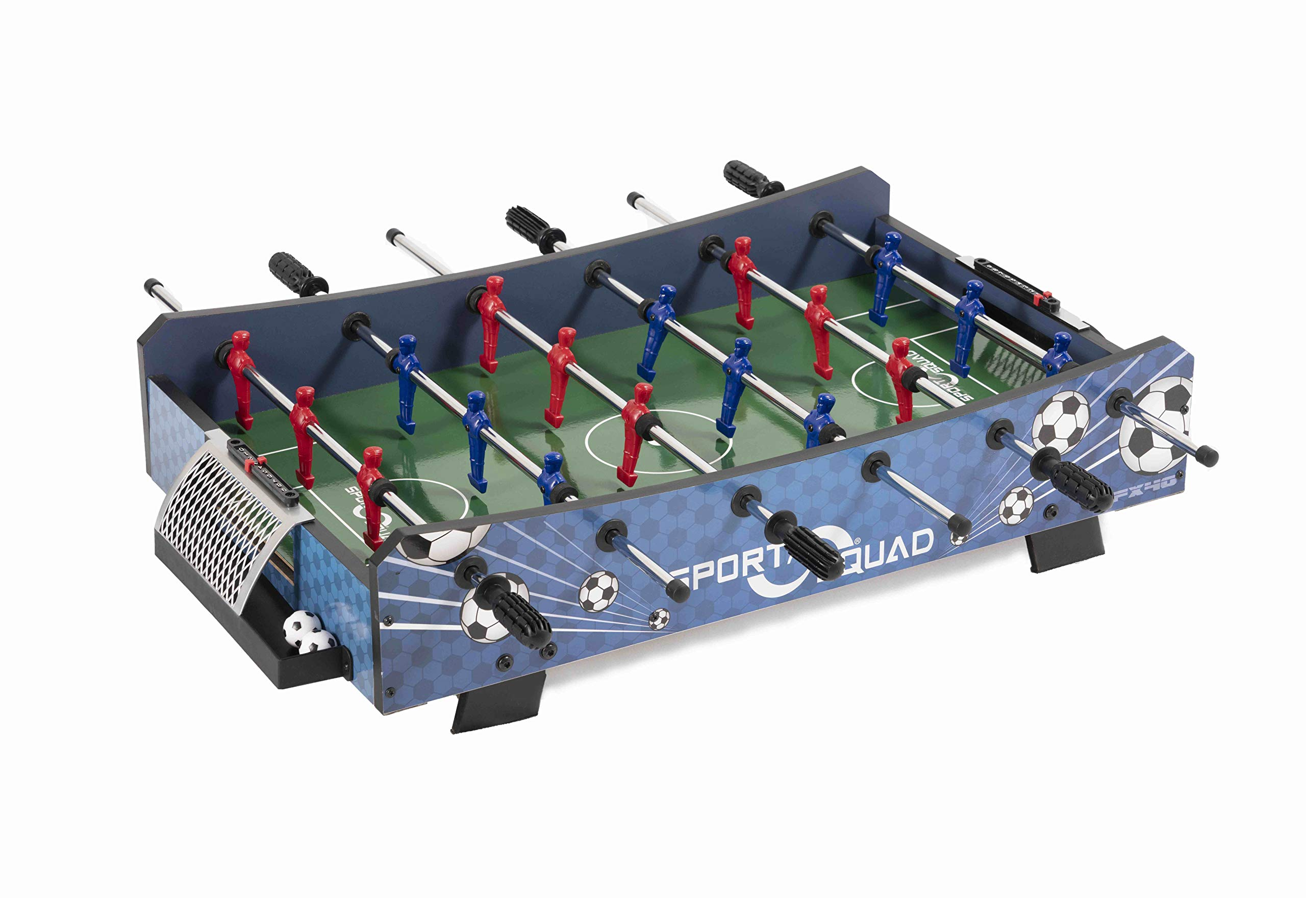 Sport Squad FX40 40 inch Table Top Foosball Table for Adults and Kids - Compact Mini Tabletop Soccer Game - Portable Recreational Hand Soccer for Game Room & Family Game Night - Incl. 2 Foosball Balls by JOOLA