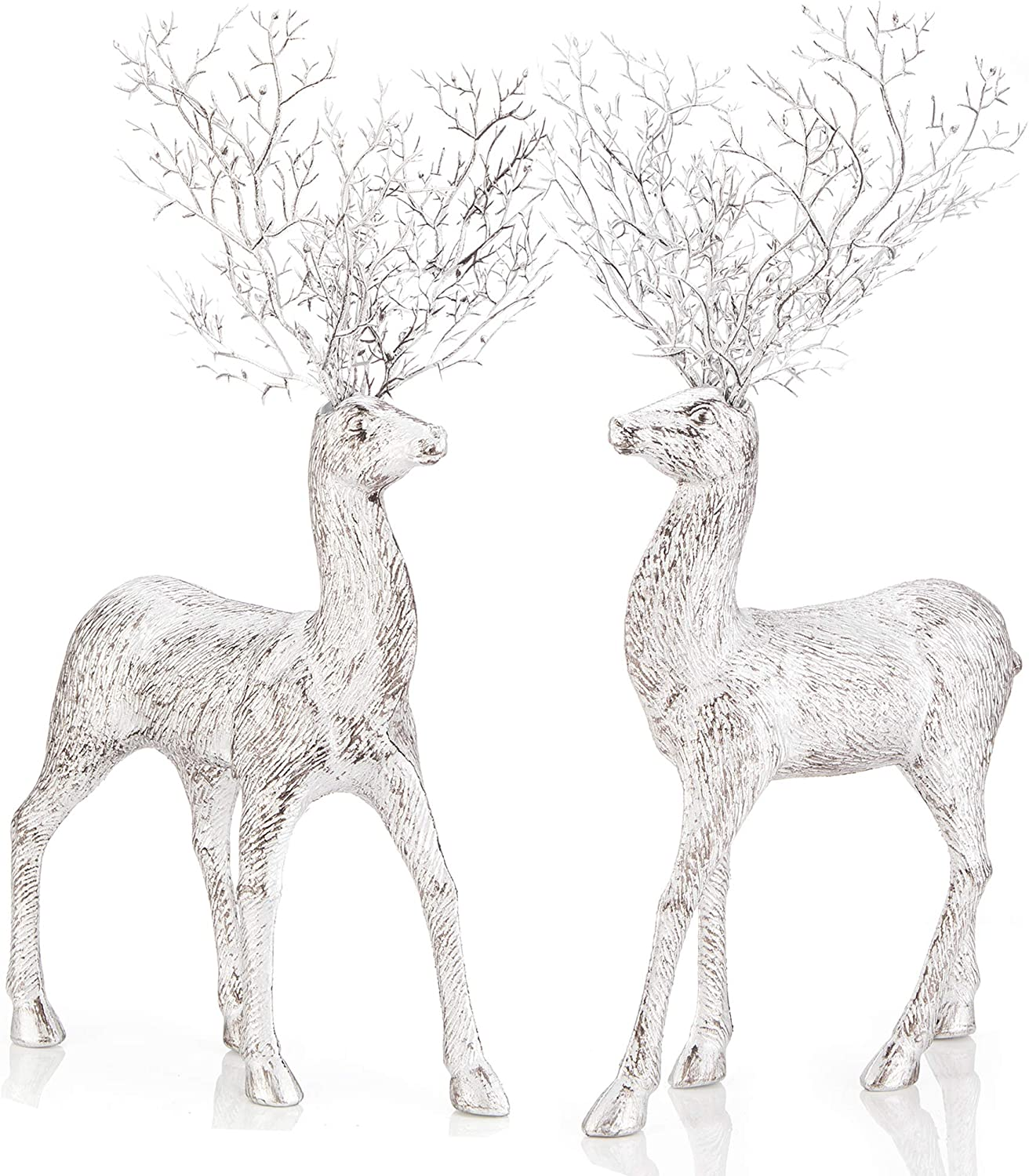 iPEGTOP 2 Pcs Rustic Christmas Reindeer Elk Holiday Figurines Decoration Christmas Standing Deer, Home Office Decor Statues Party Supplies