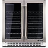 """Thorkitchen JC-116A2EQ 36 Bottle 24"""" Built-in & Free Standing Dual Zone Wine Cooler, Stainless Steel"""