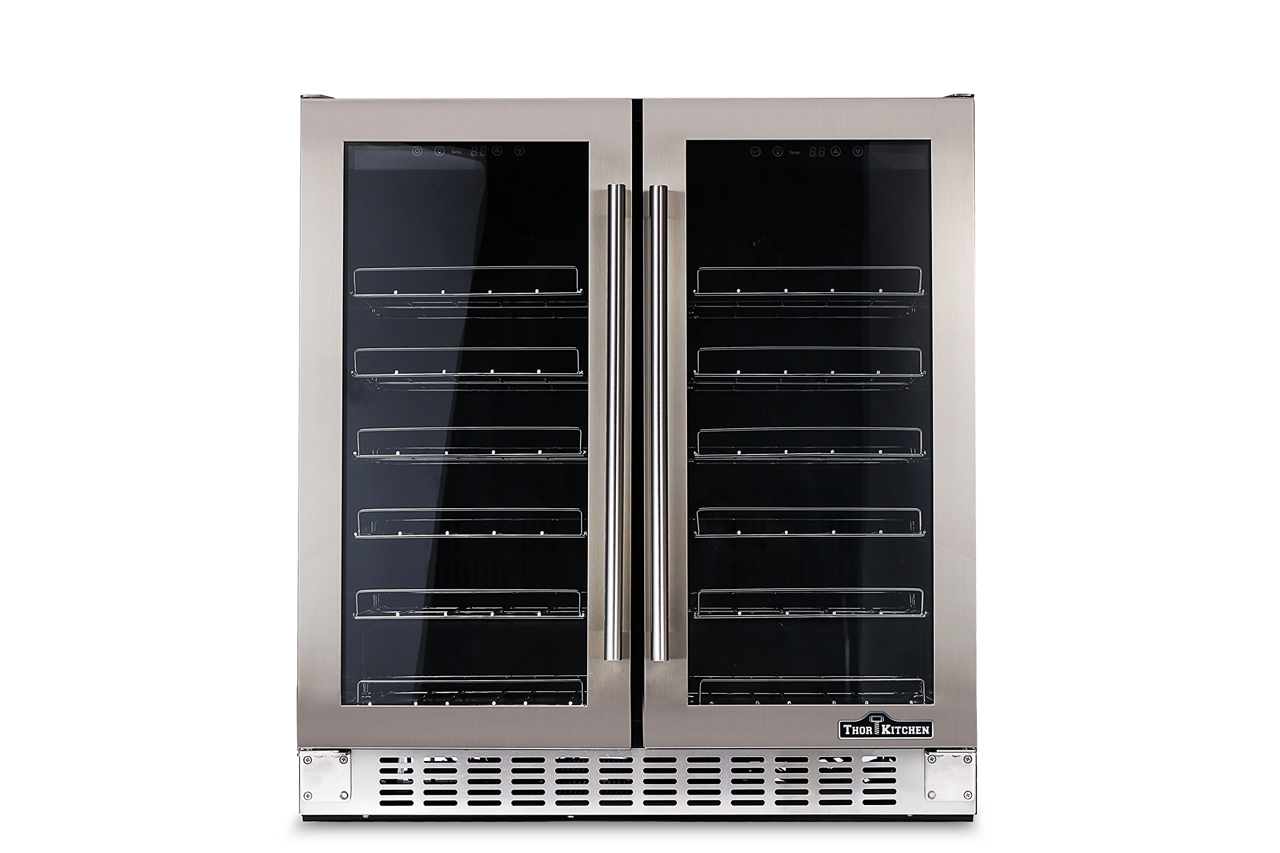 Thorkitchen JC-116A2EQ 36 Bottle 24'' Built-in & Free Standing Dual Zone Wine Cooler, Stainless Steel