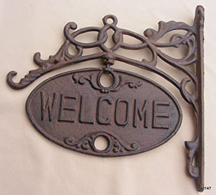 Amazon.com : Upper Deck Welcome or Go Away Sign Ornate Cast Iron ...