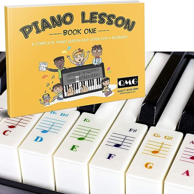 Pegatinas de color para piano y teclado y notas de color completas, libro de lecciones de música y guía para niños y principiantes; diseñado e impreso ...
