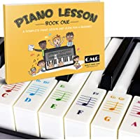 Color Piano and Keyboard Stickers and Complete Color Note Piano Lesson and Guide Book For Kids and Beginners