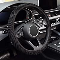 KAFEEK Elastic Stretch Steering Wheel Cover,Warm in Winter and Cool in Summer, Universal 15 inch, Microfiber Breathable…