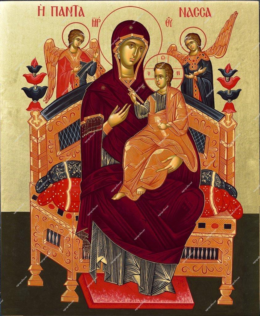 Virgin Mary Pantanassa (Vatopedi Mount Athos Monastery)   Byzantine Christian Orthodox Icon on Wood