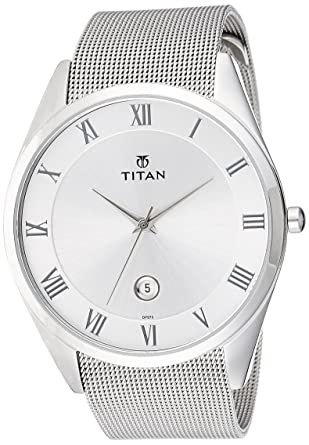 caa7e832ad Image Unavailable. Image not available for. Color: Titan Silver Dial Slim  Workwear Watch for Men-90054SM01