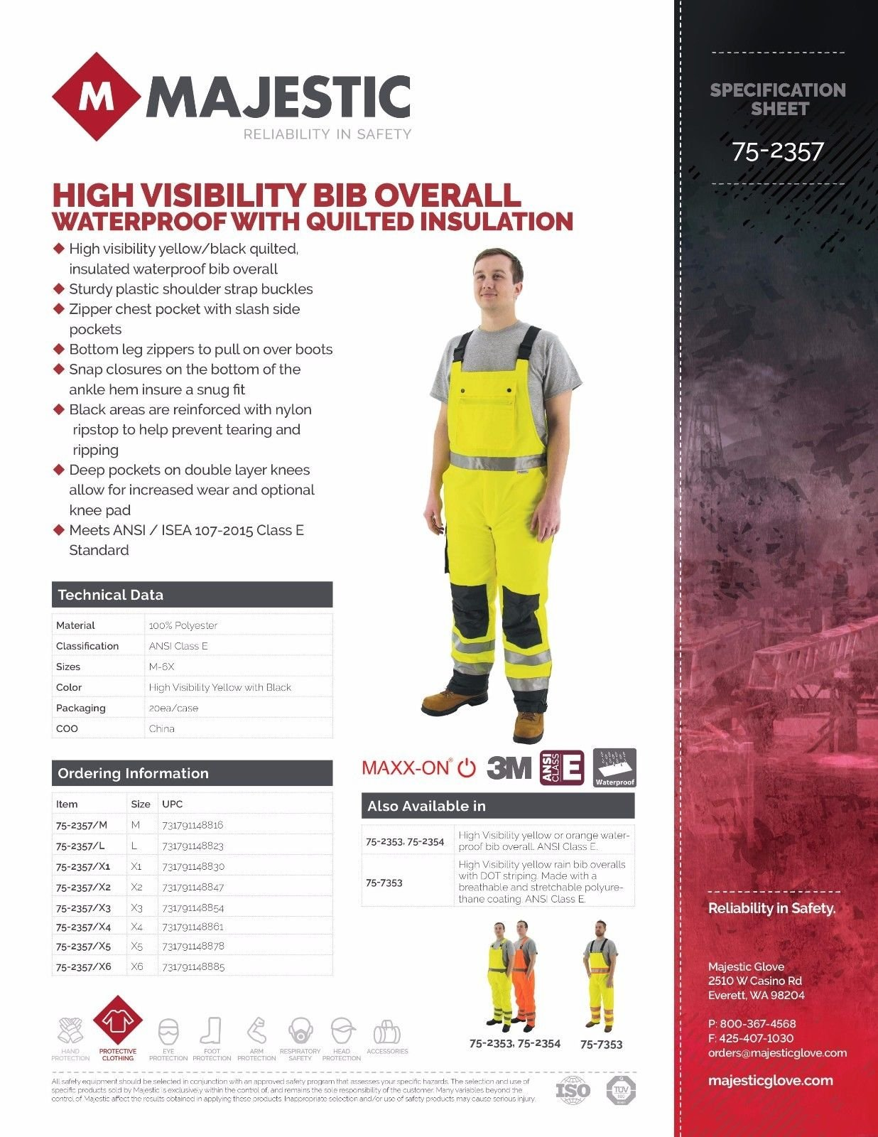 Majestic 75-2357 ANSI Class E Hi-Viz Bib Overalls, Waterproof, Quilted Insulation, Reinforced Nylon Rip-Stop, Zippers at Ankle, 3M Scotchlite, Yellow/Black, Size: XL by Majestic (Image #4)