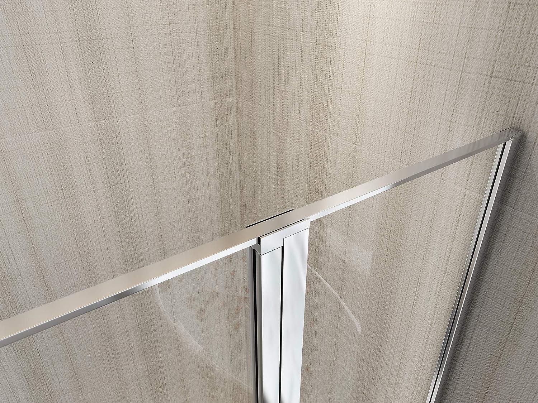 Laneri - Mampara de ducha con cristal fijo y puerta batiente ...