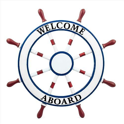 "24 Inch Wood Nautical ""Welcome Aboard "" Sign Wall Garden Decor Ship Steering Wheel"