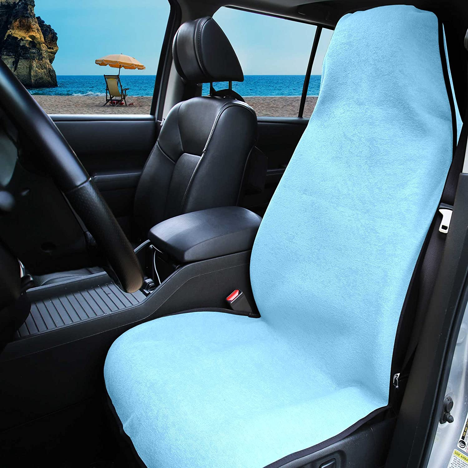 FH Group FH1006 Multifunctional Beach, Fitness Towel Car Seat Cover (Light Blue) One Cover – Universal Fit for Cars, Trucks & SUVs
