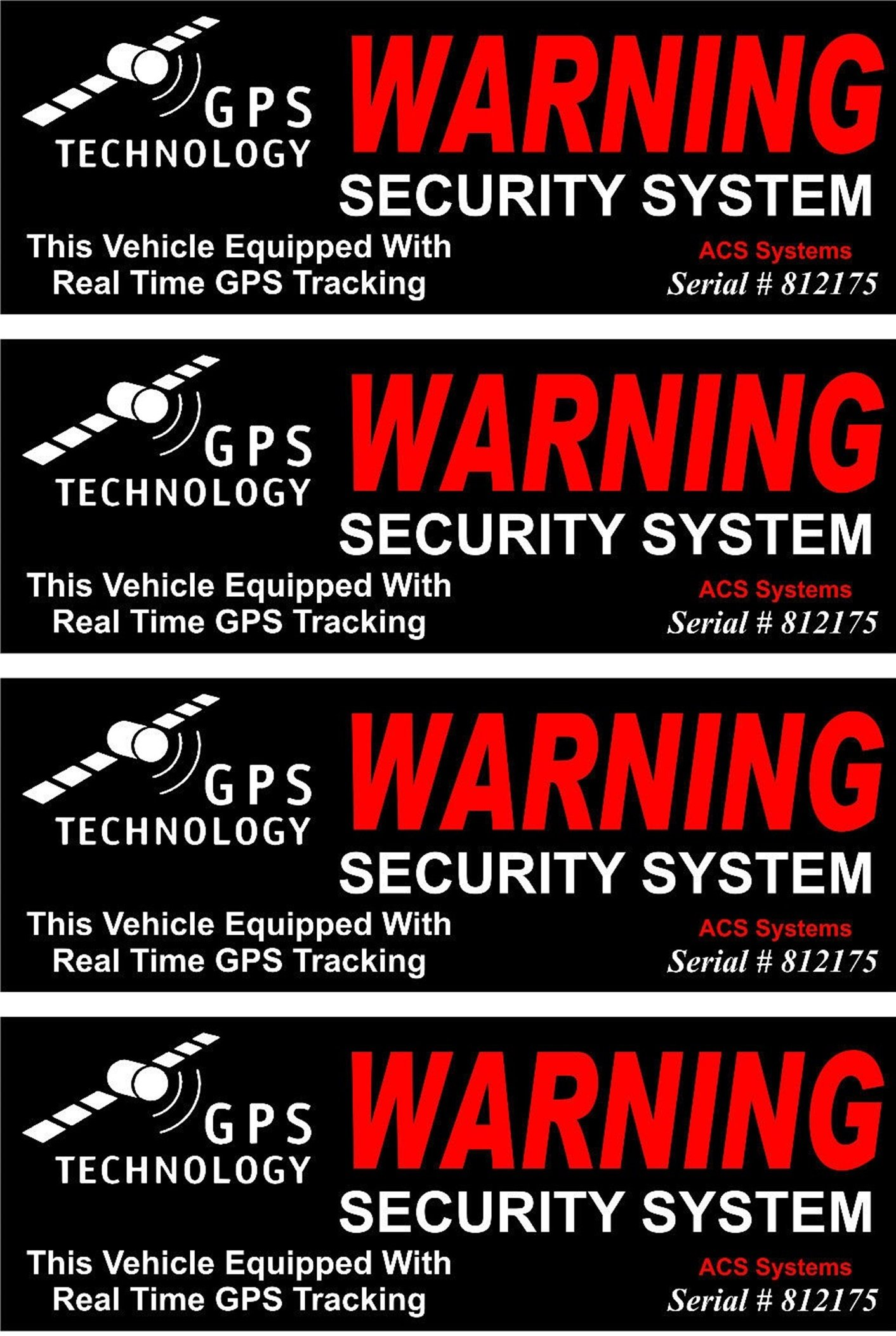 4 Set Astonishing Unique Warning GPS Tracking Security System Technology This Vehicle Equipped Real Time Outside Adhesive Stickers Sign Under Cameras Trespassing Fence Property Signs Size 4.5''x1.5''