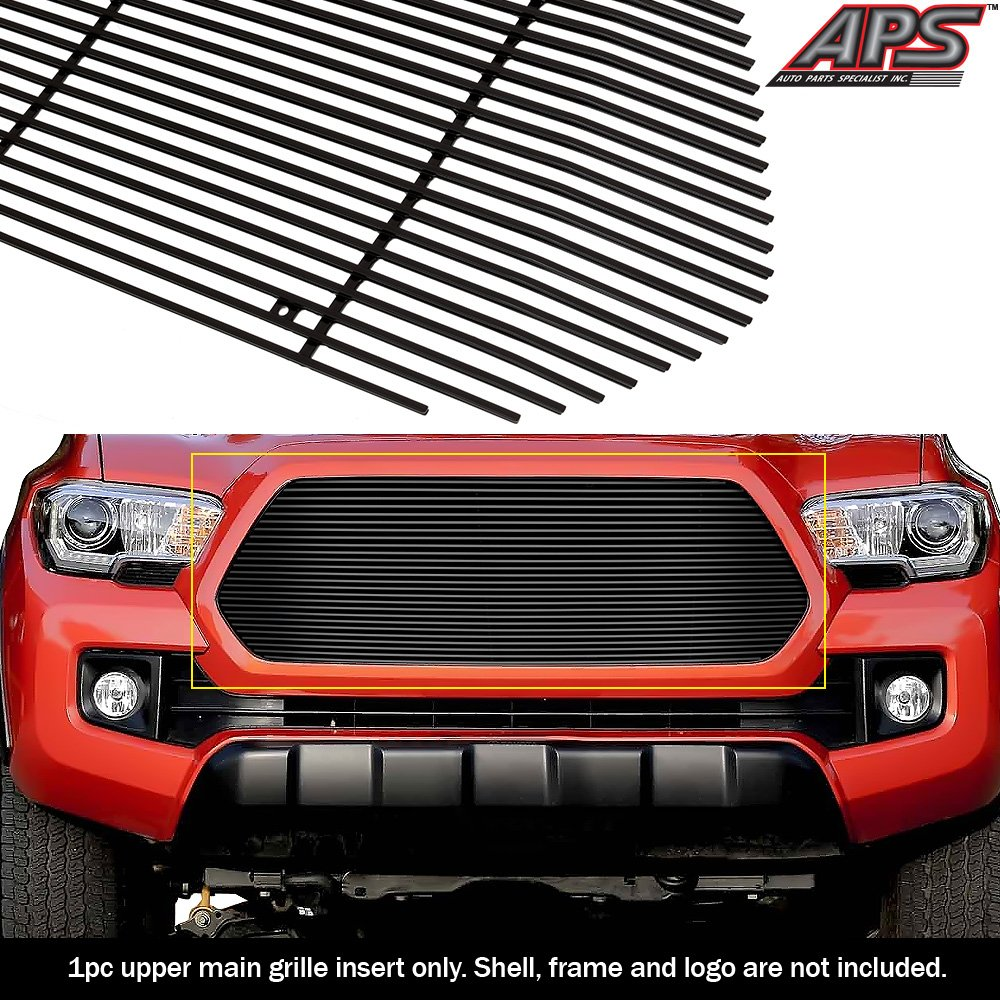 APS Fits 2016-2017 Toyota Tacoma Stainless Steel Black 8x6 Horizontal Billet Grille Insert #T86358J