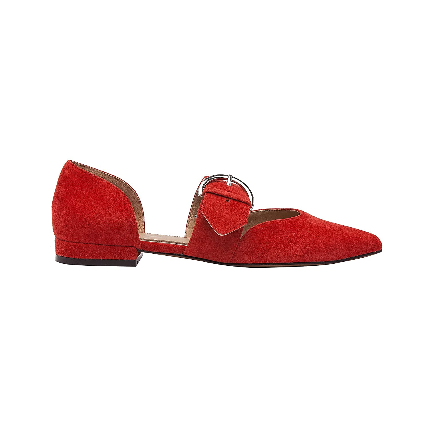 Dean | Women's Two Piece Pointy Toe Comfortable Leather or Suede Ballet Flat B07DM9QFB5 8.5 M US|Red Suede