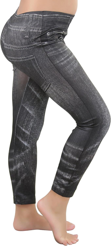 ToBeInStyle Girls Nylon-Spandex Blend Printed Jean Full Length Leggings