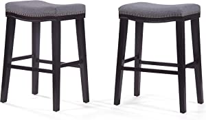 Christopher Knight Home Rosalie Fabric Saddle Stools, 2-Pcs Set, Charcoal