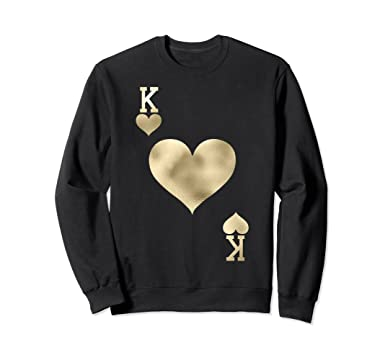 Amazoncom King Of Hearts Card Halloween Costume Sweatshirt Gold