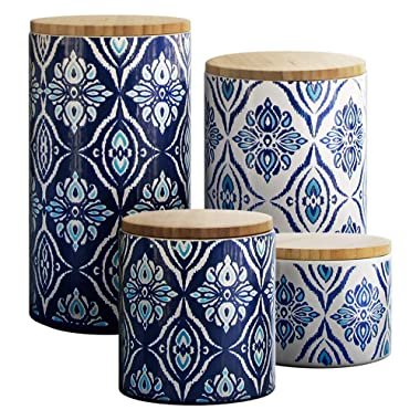 American Atelier Pirouette 4 Piece Canister Set, Blue/White