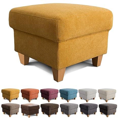 Cavadore Hocker Finja / Polsterhocker im modernen Landhausstil / Fußbank  für\'s Wohnzimmer passend zum Sessel Finja / 59 x 47 x 59 / Webstoff Gelb
