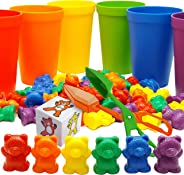 Skoolzy Rainbow Counting Bears with Matching Sorting Cups, Bear Counters and Dice Math Toddler Games 71pc Set - Bonus Scoop T