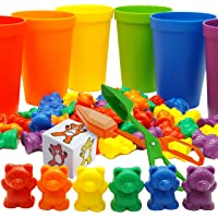 Skoolzy Rainbow Counting Bears with Matching Sorting Cups, Bear Counters and Dice Math Toddler Games 71pc Set - Bonus…