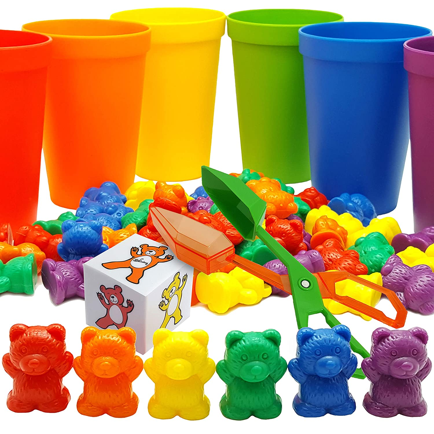 Skoolzy Rainbow Counting Bears with Matching Sorting Cups, Bear Counters and Dice Math Toddler Games 70pc Set - Bonus Scoop Tongs