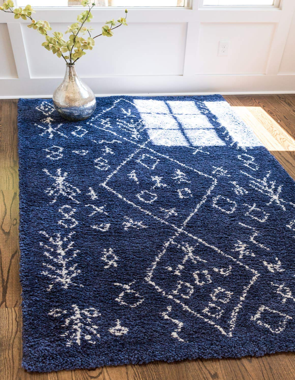 Unique Loom Rabat Shag Collection Tribal Moroccan Nomad Plush Navy Blue Area Rug 5 0 x 8 0