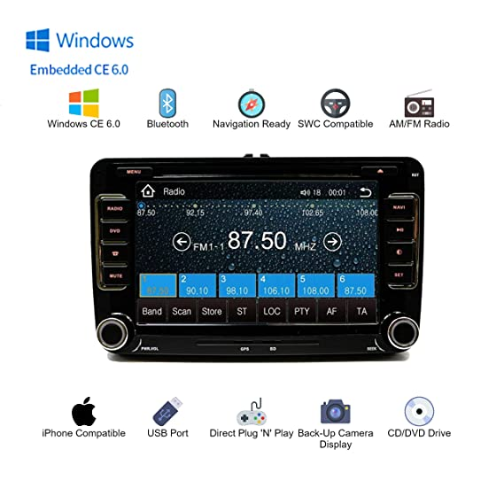GPS Navigation Radio Bluetooth Touch Screen OE Fitment for Volkswagen Jetta  06-14 (Fits: EOS 07-14, Caddy 10-14, Tiguan 09-14, Golf/GTI 03-14, CC