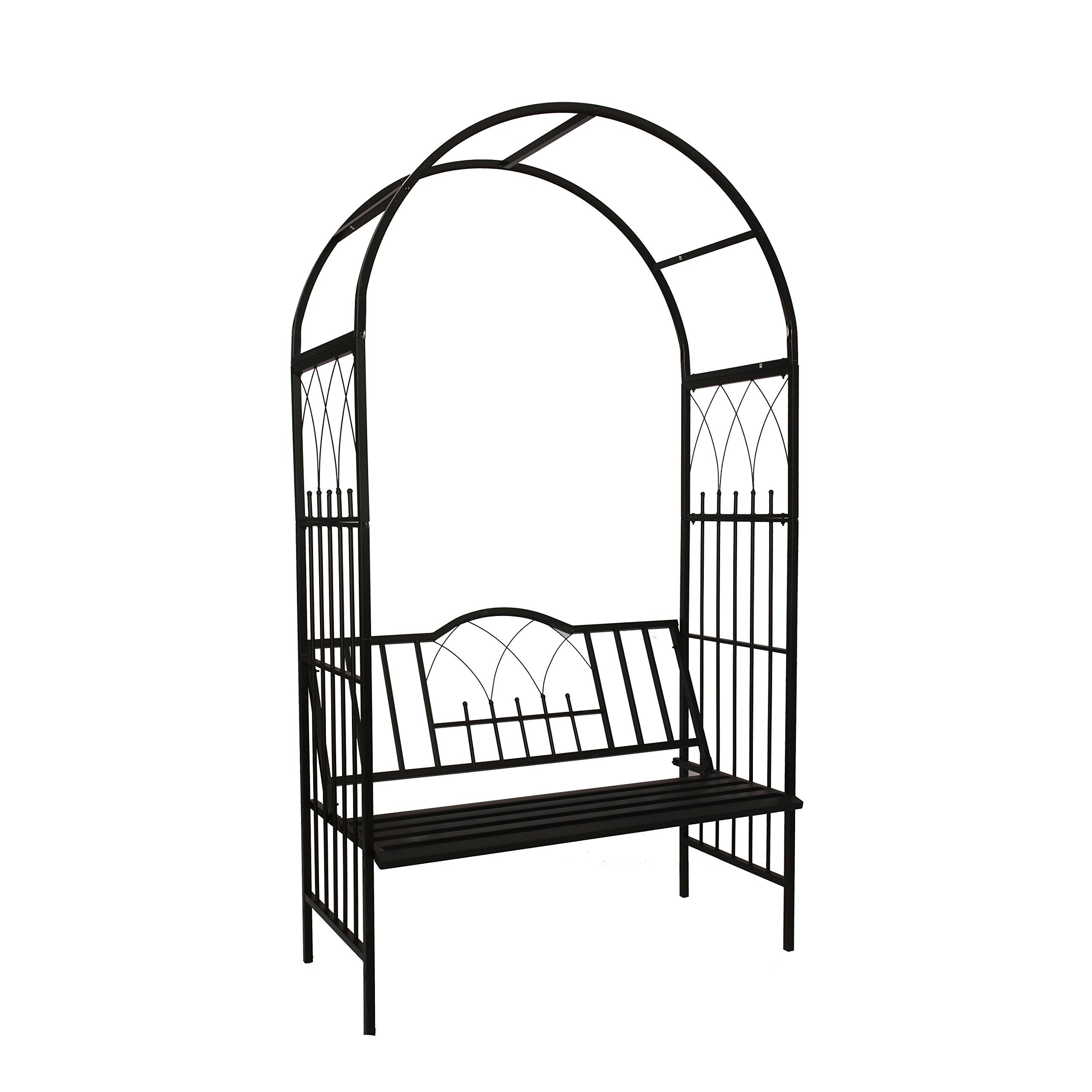1. GO Steel Garden Arch with Seat for 2 People, 6'9'' High x 3'9'' Wide, Garden Arbor for Various Climbing Plant, Outdoor Garden Lawn Backyard