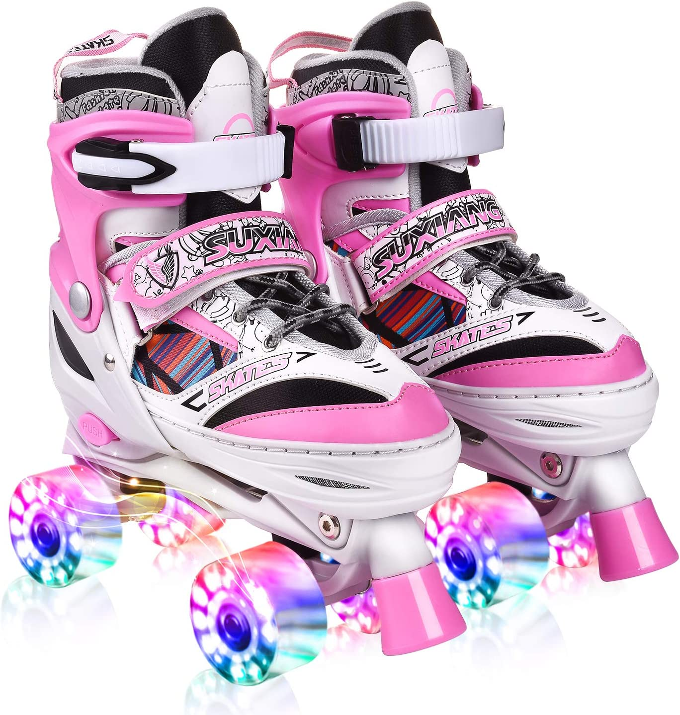 Kuxuan Doodle Design Roller Skates Adjustable for Kids,with All Wheels Light up,Fun Illuminating for Girls and Ladies
