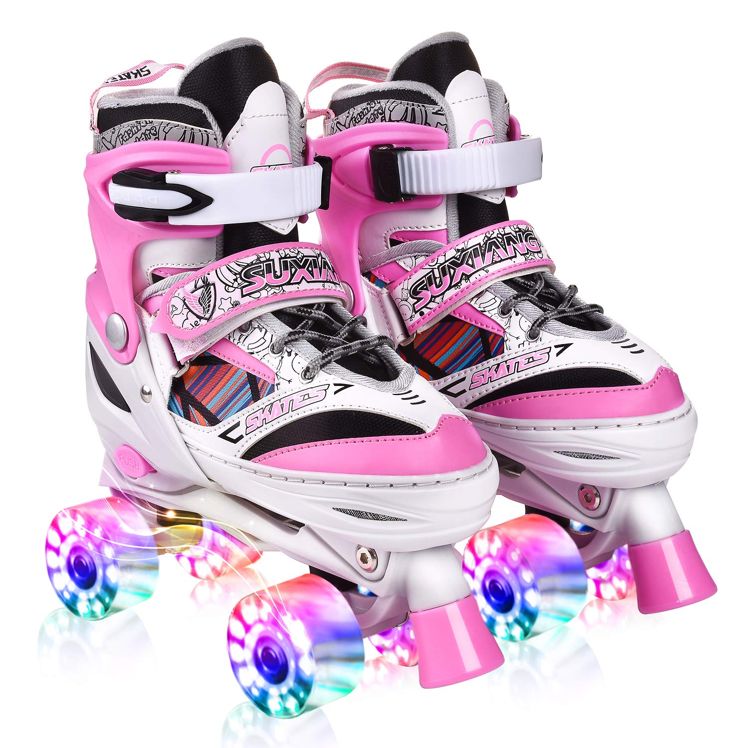 Kuxuan Saya Roller Skates Adjustable for Kids,with All Wheels Light up,Fun Illuminating for Girls and Ladies (Pink, Small(11-1US))