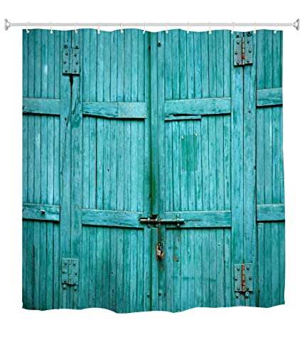 Goodbath Barn Door Shower Curtain Waterproof And Mildew Resistant Polyester Fabric Bathroom Curtains 72