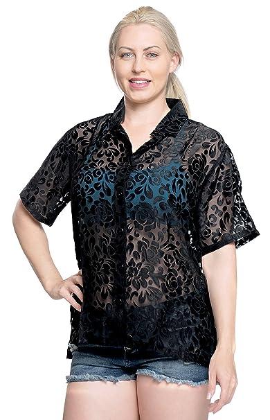 Hawaiano botón de la Camisa Blusas Mujeres con Cuello Corto Abajo Campamento Mangas Negro m: Amazon.es: Ropa y accesorios