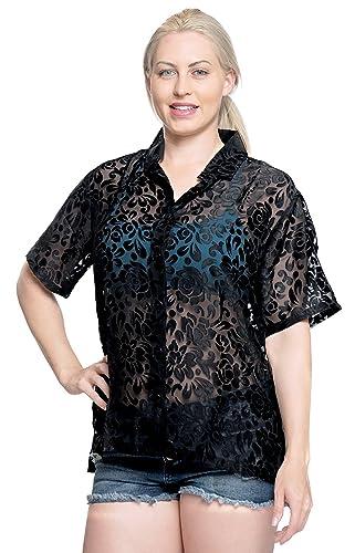 LA LEELA Blusas Camisa Hawaiana botón Abajo Mujeres con Cuello Corto Campamento Mangas Negras