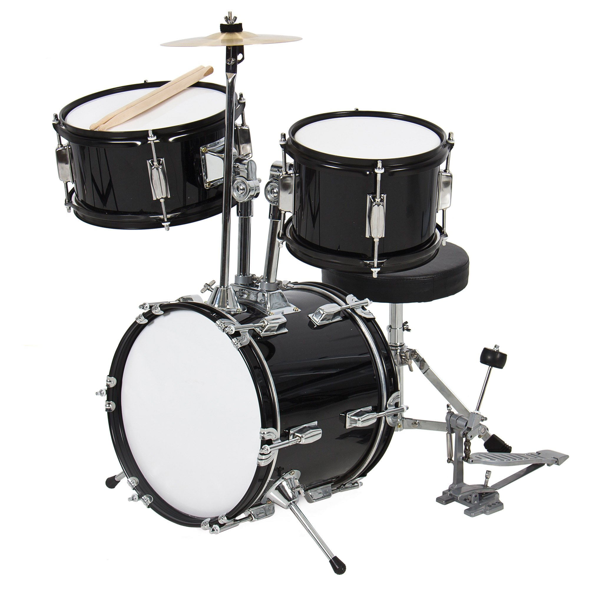Best Choice Products 3-Piece Kids Beginner Drum Set with Cushioned Stool, Drum Pedal, Black by Best Choice Products