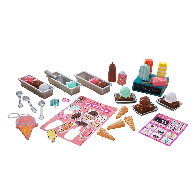 Kit de juguetes para tienda de helados con juguetes de madera con forma de helados 53539 KidKraft incluye m/ás de 20 unidades