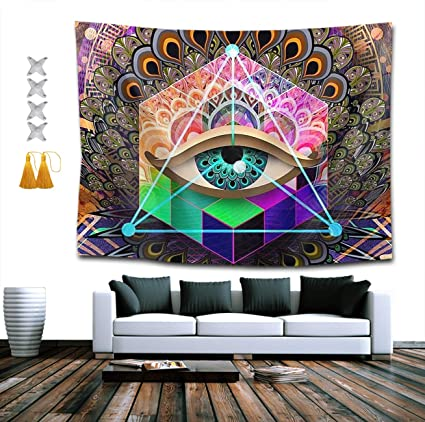 QEES Wall Hanging Tapestry Psychedelic Bohemian Art Colorful Abstract Trippy...