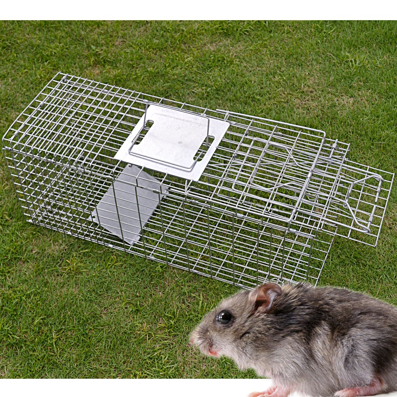 BenefitUSA Animal Trap for Possum Cat Rabbit Woodchucks Hare Mouse Cage 25.6''x9.5''x11'' Foldable