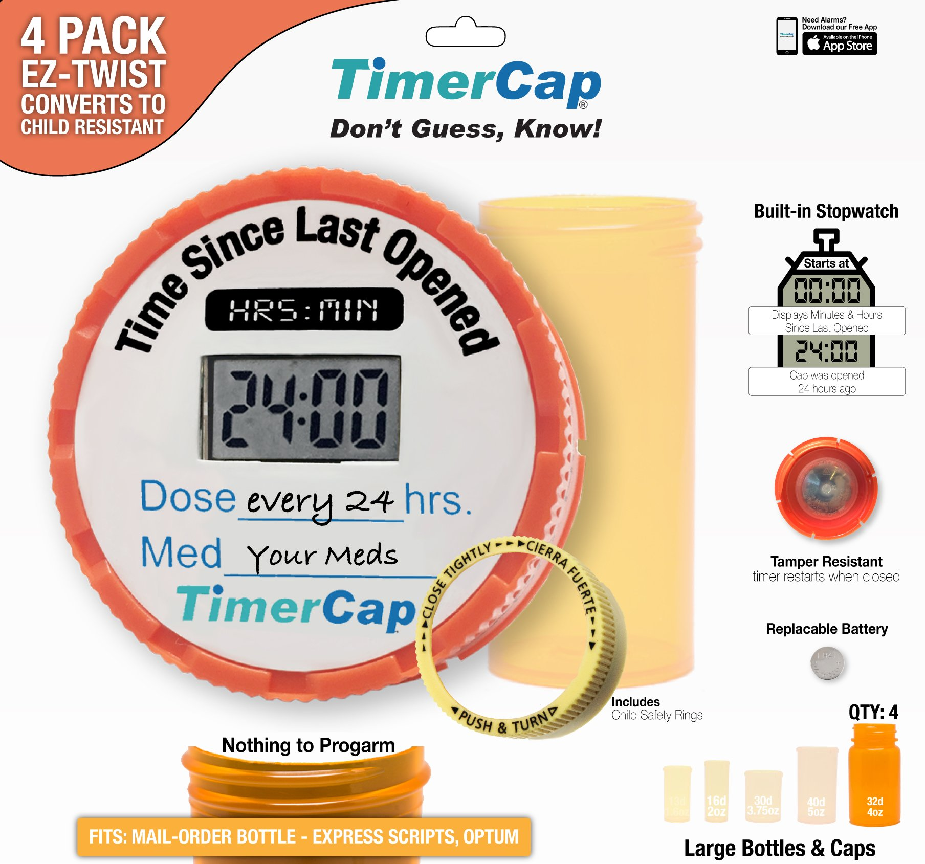 Rings once then beeps 3 times then hangs up - Timercap Stopwatch Cap Pill Bottle Organizer 4 Pack 4 Large 4 Oz