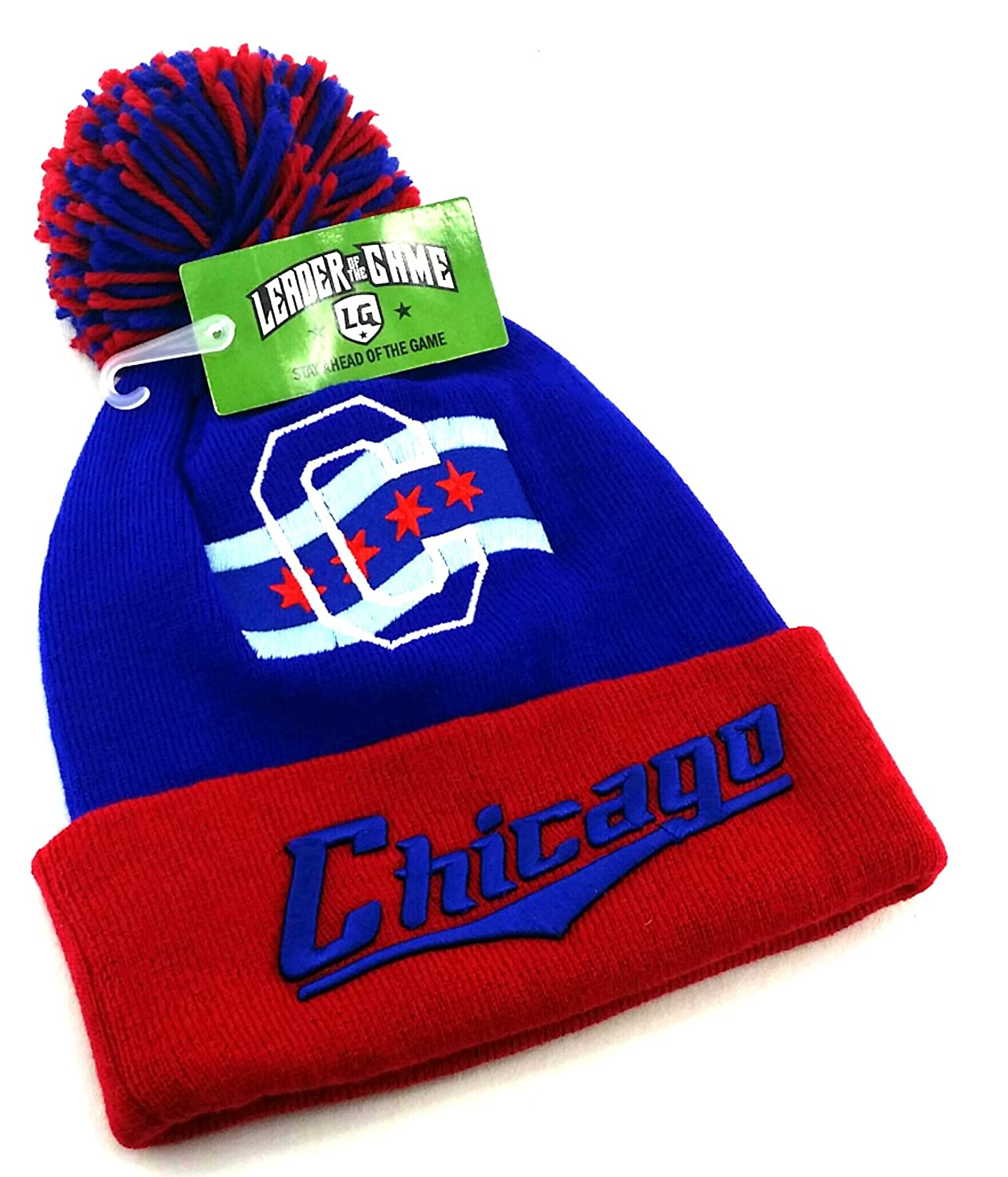 4ce14be02b0 Amazon.com  Leader of the Game Chicago Top Pro New Knit Beanie Toque Pom  City of Flag Cubs Colors Blue Red Era Hat Cap  Sports   Outdoors
