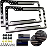Aootf American Flag License Plate Frame- Patriotic USA Car Tag Cover, 2 Pack 4 Hole Thin Matte Black and White Heavy-Duty Alu