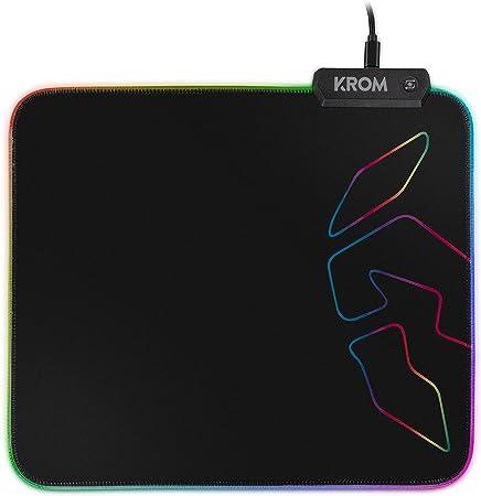 Krom Knout RGB -NXKROMKNTRGB- Alfombrilla Gaming, base de goma antideslizante, marco cosido con tira LED RGB, tamaño 320x270x3 mm, color negro