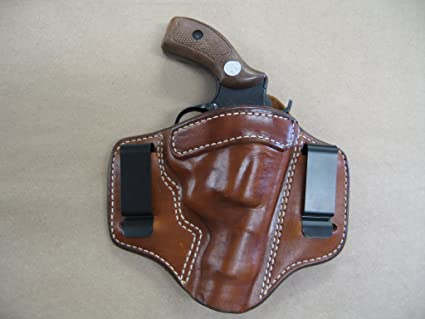 Charter Arms Undercover 5 Shot Revolver IWB 2 Clip Leather In The Waistband  Concealed Carry Holster CCW TAN RH