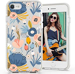 Rose Lake Flower Phone Case for iPhone SE 2020 iPhone 8 iPhone 7 Cover, Blue Floral Pattern Girls Women TPU Shockproof Bumper Back Case 4.7-inch