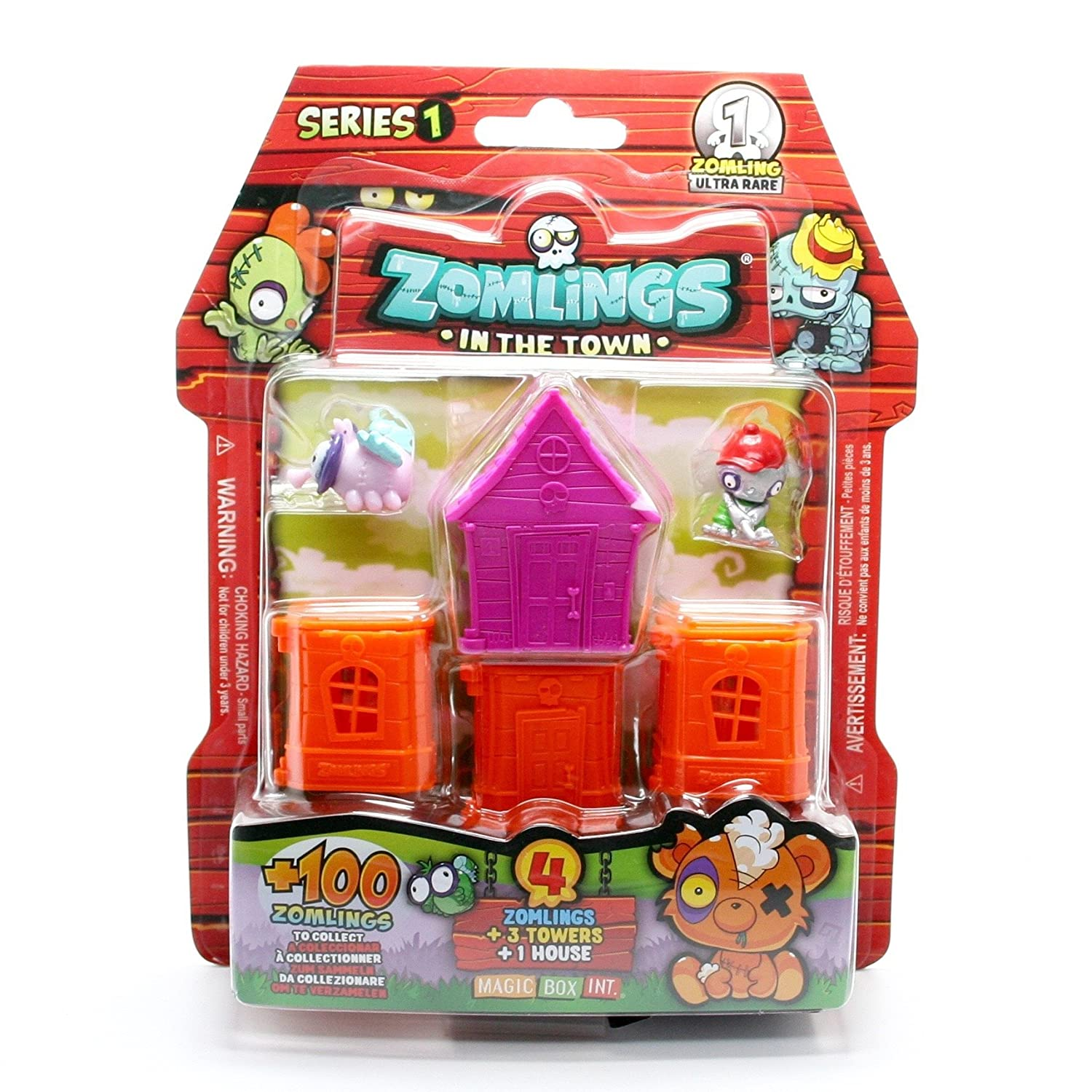 In The Town Series 1 Blister Pack with 1 PURPLE Zomlings House /& 3 ORANGE Zomlings Towers 4 ZOMLINGS