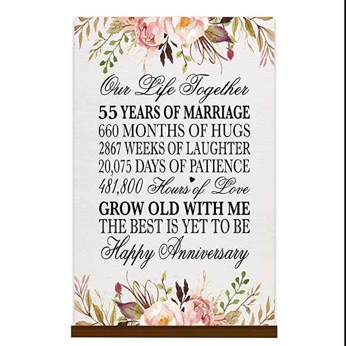 Our Life Together 12x15 Rope Sign Fifty Five Year Wedding Keepsake Gift for Parents Husband Wife him her LifeSong Milestones 55th Anniversary Plaque 55 Years of Marriage
