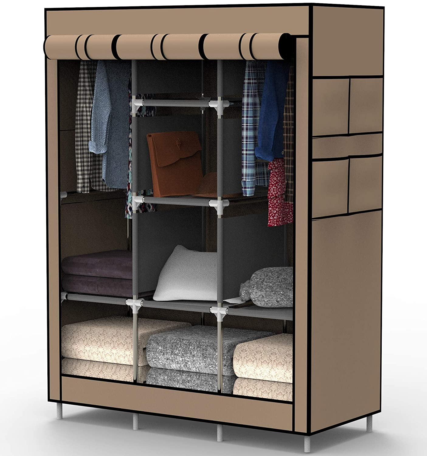 Myouya Clothes Closet Wardrobe - Bedroom Standing Closet Organizer Clothing, Shoes Accessories, 6 Cubes 2 Hanging Sections (Beige)