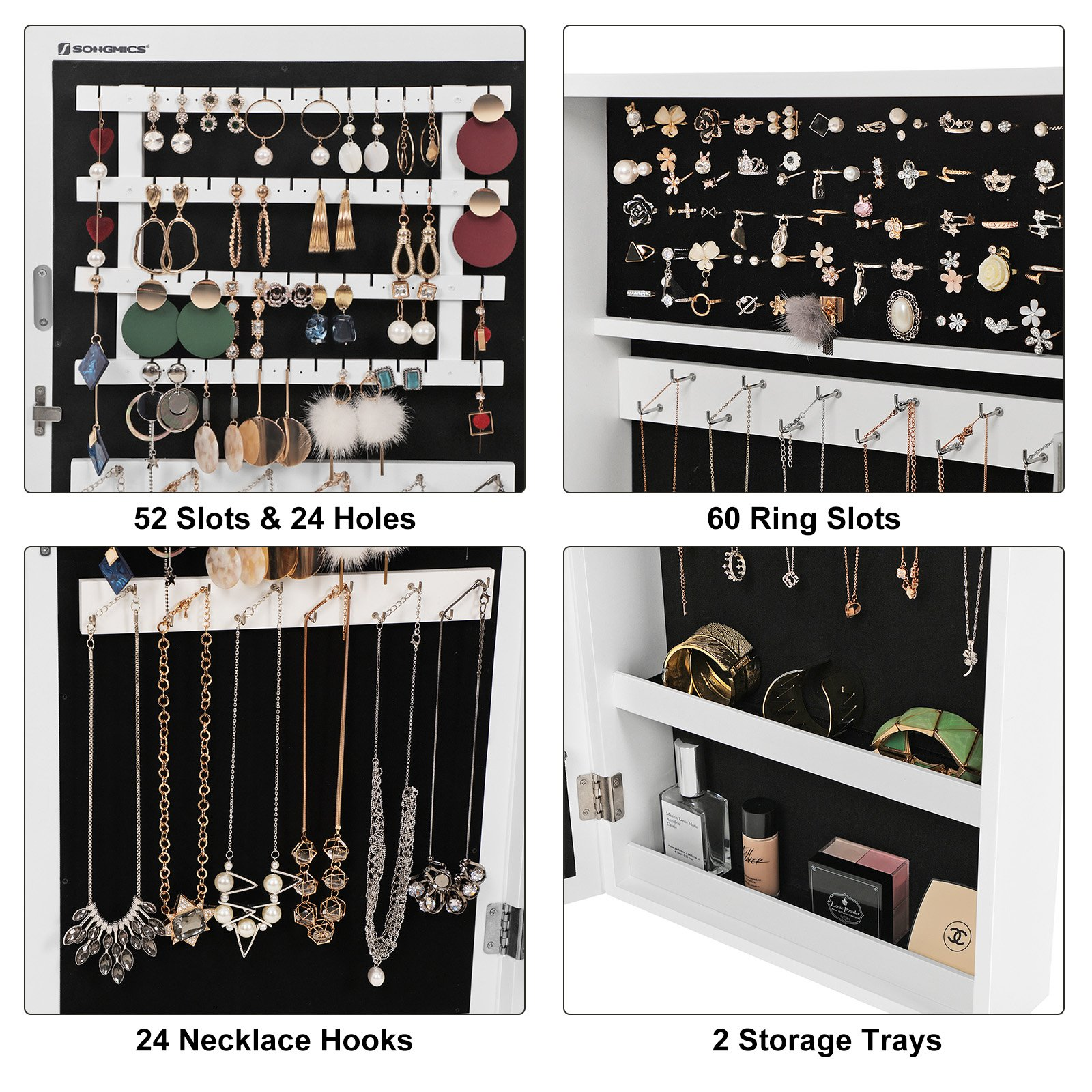 SONGMICS Lockable Jewelry Cabinet Armoire with Mirror, Wall-Mounted Space Saving Jewelry Storage Organizer White UJJC51WT by SONGMICS (Image #4)