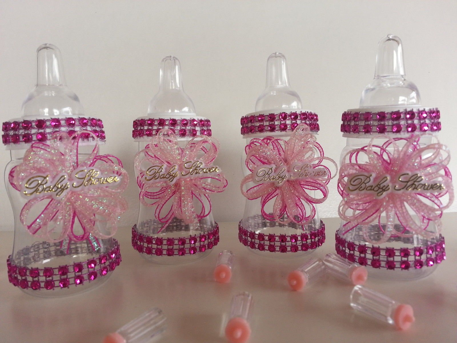 12 Pink Fillable Bottles for Baby Shower Favors Prizes or Games Girl Decoration